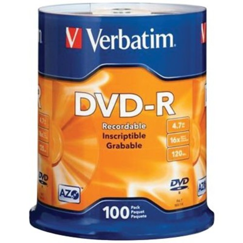 Verbatim VTM95102 4.7 GB DVD-R Spindle, 100/Pack