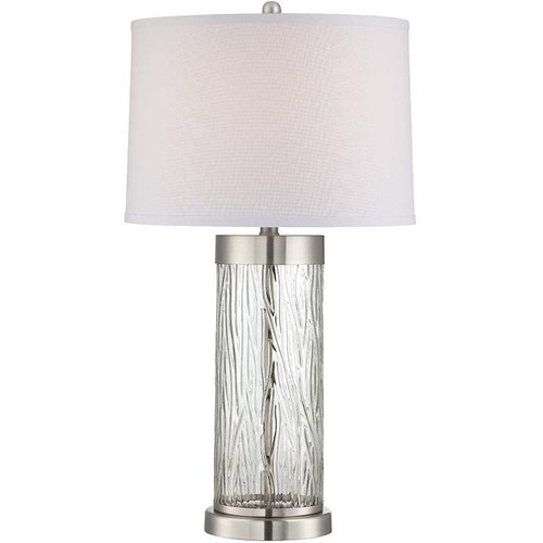 Polished Steel & Glass Table Lamp