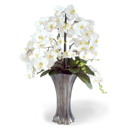 Jane Seymour Botanicals White 36-inch Tall Phalaenopsis Orchids In Graphite Resin Vase