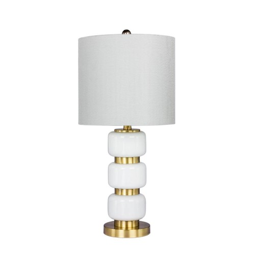 Fangio Lighting 26 in. Smooth, Stacked Glass and Metal Table Lamp in a Antique Brass and White
