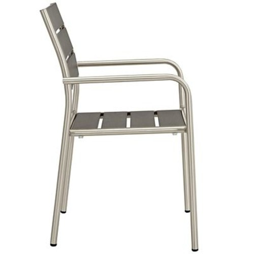 Shore Outdoor Patio Aluminum Dining Chair in Silver Gray (889654064831)