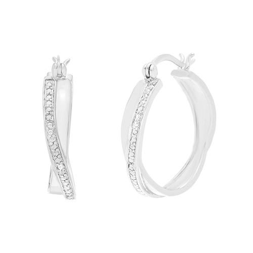 Diamond Accent Twisted Hoop Earrings