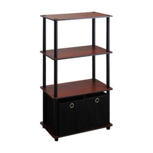 Wildon Home 43'' Etagere Bookcase; Dark Cherry / Black