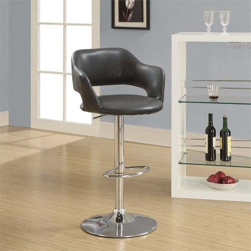 Monarch Adjustable Faux Leather Swivel Bar Stool in Charcoal Gray