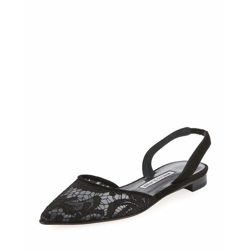 MANOLO BLAHNIK Carolyne Lace Slingback Flat, Black