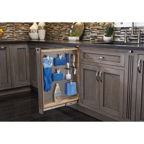Rev-A-Shelf 30 in. H x 3 in. W x 23 in. D Pull-Out Between Cabinet Base Filler with Stainless Steel Panel and Soft-Close Slides