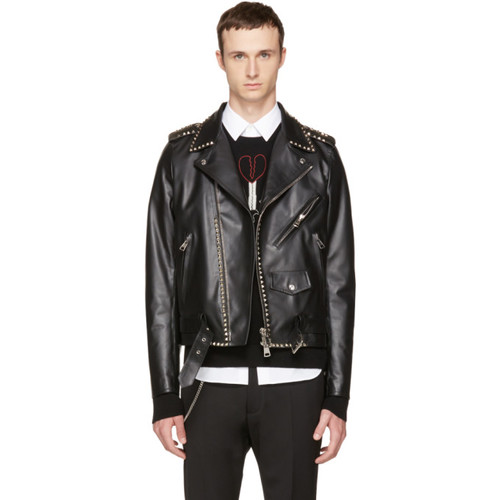 VALENTINO Black 'Rockstud Untitled' 20 Leather Jacket