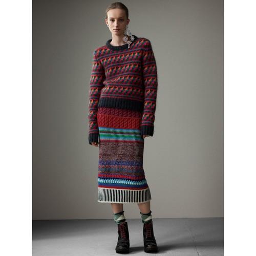 Hand-crocheted Detail Cashmere Wool Blend Skirt