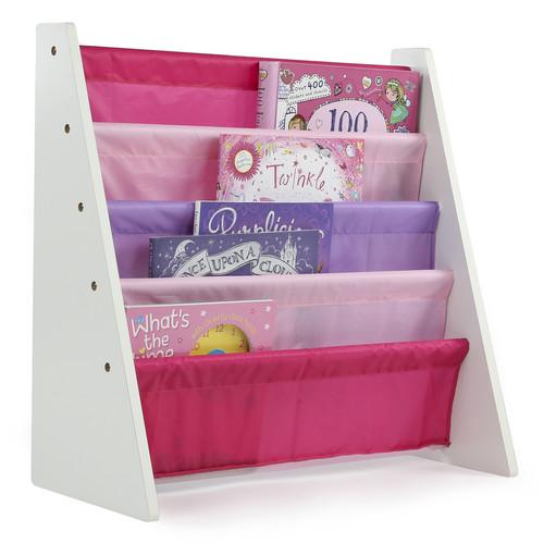 Tot Tutors Kids Book Rack Storage Bookshelf, Pink/Purple