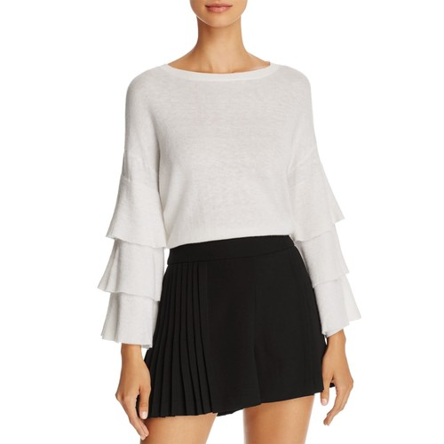 ALICE AND OLIVIA Stora Ruffle-Sleeve Merino Wool Sweater