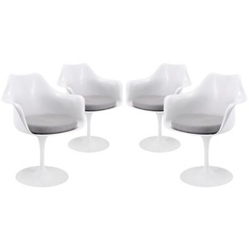Modway Lippa EEI-1260-GRY Set of 4 Plastic Dining Chairs, Gray