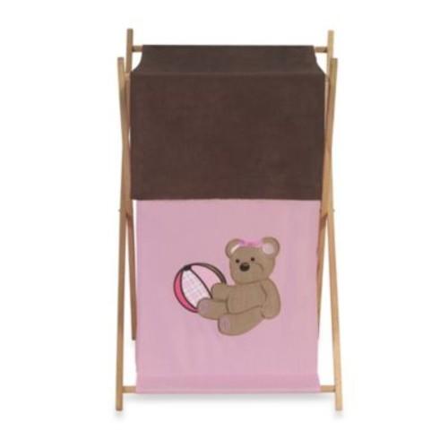 Sweet Jojo Designs Teddy Bear Laundry Hamper in Pink/Chocolate