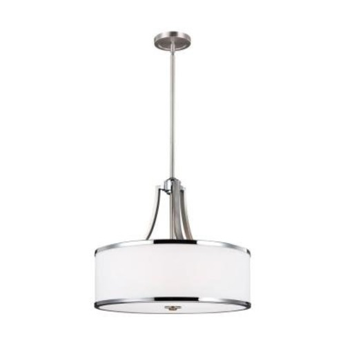 Feiss Prospect Park 4-Light Satin Nickel/Chrome Uplight Pendant