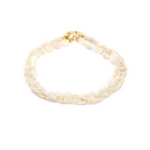 Faux Pearl and Stone Multi-Row Necklace