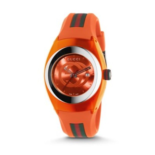 GUCCI Signature Orange Rubber Strap Watch