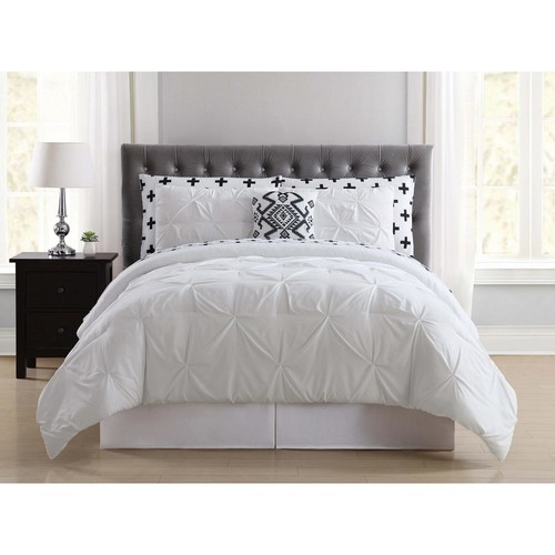 Crosses Pleated White Twin Bed in a Bag