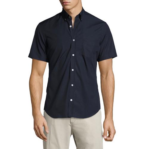 BURBERRY Cambridge Short-Sleeve Stretch-Cotton Shirt, Navy