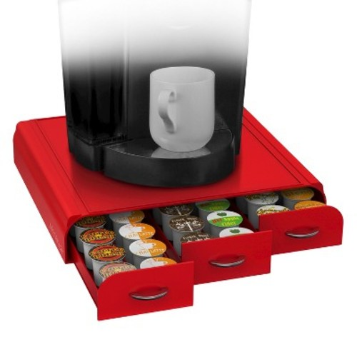 Mind Reader Coffee Pod 36 Capacity Triple Drawer -Red