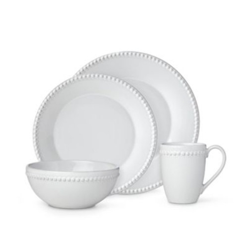 Lenox French Carved Pearl 16-Piece Dinnerware Set in White