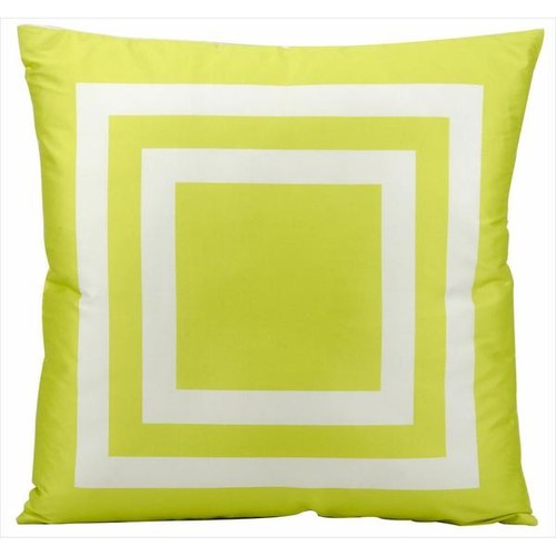Mina Victory Indoor/Outdoor Squares Green Throw Pillow (20-inch x 20-inch) by Nourison