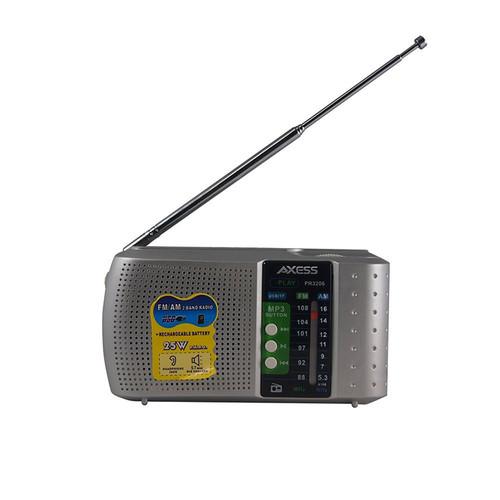 AXESS Portable Alarm Clock Shortwave Silver Radio PR3206SIL