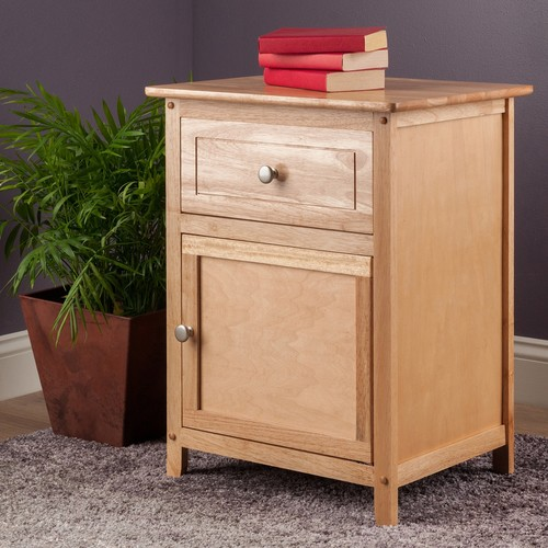 Winsome Beechwood End Table with 1 Drawer and Cabinet
