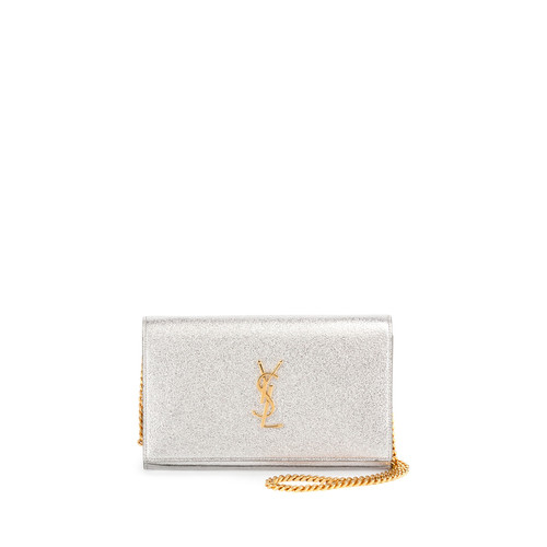 SAINT LAURENT Monogram Medium Wallet-On-Chain Bag, Silver