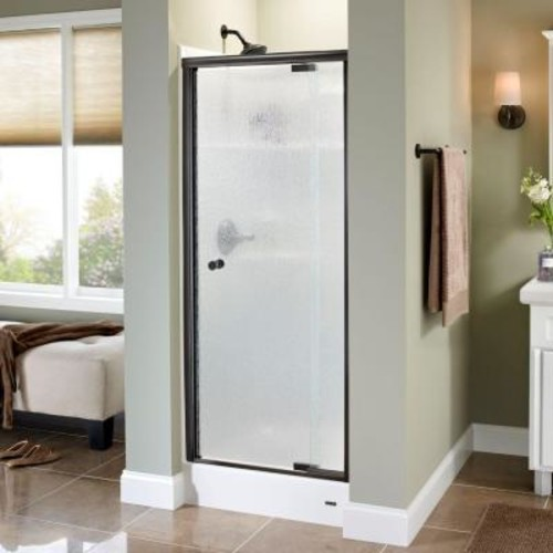 Delta Lyndall 31 in. x 66 in. Semi-Frameless Pivot Shower Door in Bronze with Rain Glass