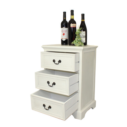 Casa Cortes Hand-painted 3-drawer Antique White Solid Wood Night Stand