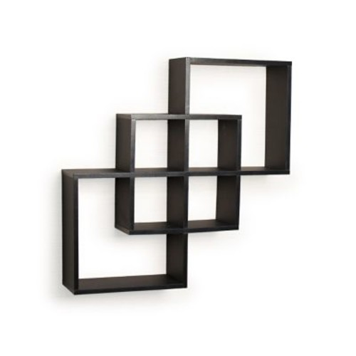 Danya B FF6013B Intersecting Squares Decorative Wall Shelf, Black