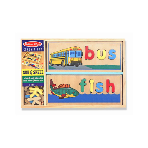 Melissa & Doug See & Spell Wooden Educational Toy With 8 Double-Sided Spelling Boards and 50+ Letters [Standard Version]