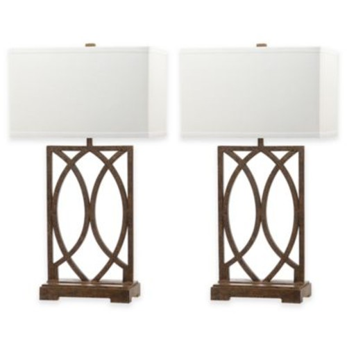 Safavieh Jago Table Lamps in Antique Gold with Rectangular Shades (Set of 2)