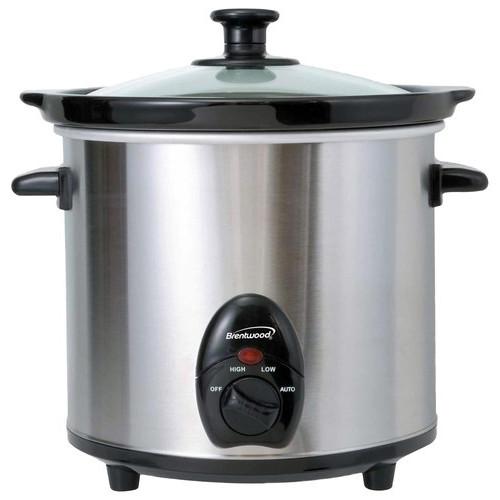 Brentwood - 3-Quart Slow Cooker - Black/Silver