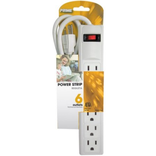 Prime PB801124 6 Outlet Power Strip with 3-foot cord, White