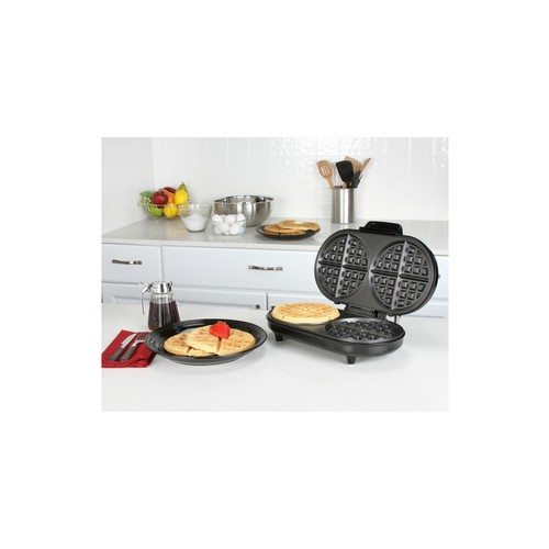 Black and Stainless Steel Double Belgian Waffle Maker