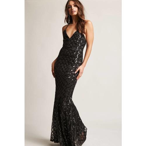 Sequin Mesh Maxi Dress