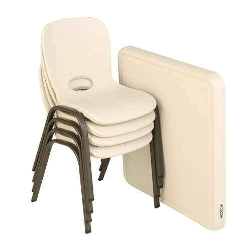 Lifetime Children's Folding Table and 4 Chairs - Almond