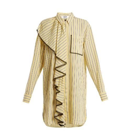 Striped lace shirt dress