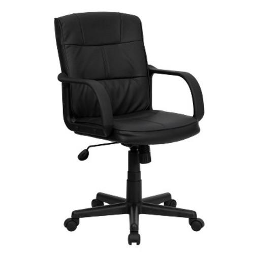 Mid-Back Swivel Task Chair Black Leather - Flash Furniture