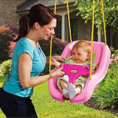 Little Tikes 2-in-1 Snug 'n Secure Swing, Pink [Frustration-Free Packaging]