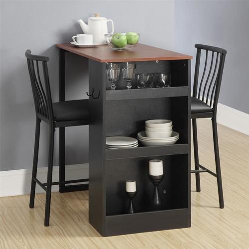 Dorel Living 3-Piece Walnut / Black Counter Height Bar Set