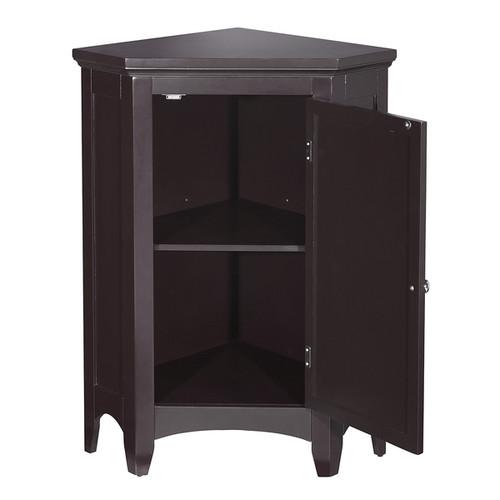 Bayfield Espresso Shutter Door Corner Floor Cabinet by Essential Home Furnishings