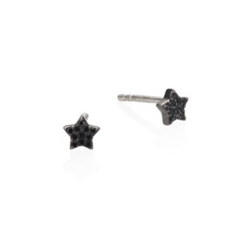 Black & Black Tiny Diamond Star Stud Earrings