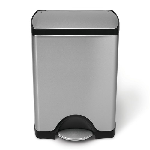 simplehuman 30-Liter Fingerprint-Proof Brushed Stainless Steel Rectangular Step-On Trash Can