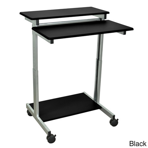 Luxor Mobile Stand-Up Computer Workstation Desk With Silver Gray Frame [option : Single Gray]