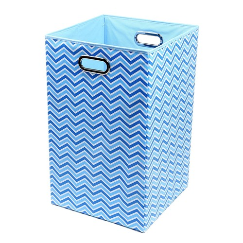 Modern Littles SKYLAUN101 Sky Zig Zag Folding Laundry Basket Blue [Baby Blue Laundry Basket Zig Zag]