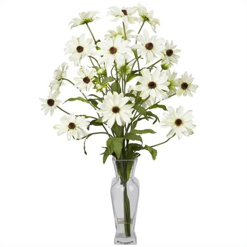 Nearly Natural Cosmos with Vase Silk Flower Arrangement in White