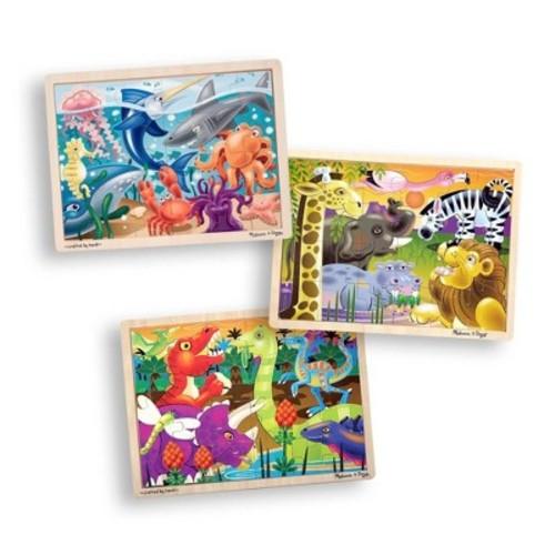 Melissa & Doug 3-Puzzle Jigsaw Set - Dinosaurs, Ocean, and Safari