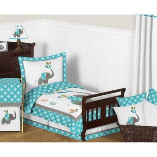 Sweet Jojo Designs Mod Elephant 5-Piece Toddler Bedding Set in Blue/White
