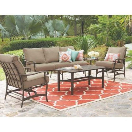Home Decorators Collection Gabriel Bronze 4-Piece Espresso Outdoor Patio Deep Seating Set with Beige Cushions